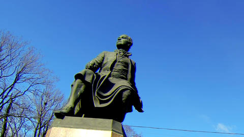 Monument to Mikhail Lomonosov in St. Petersburg Stock Video Footage