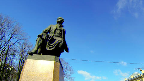 Monument to Mikhail Lomonosov in St. Petersburg Footage
