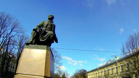 Monument to Mikhail Lomonosov in St. Petersburg Stock Video Footage