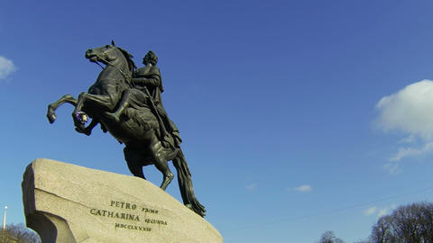 Monument to Peter I on the Senate square in St.... Stock Video Footage