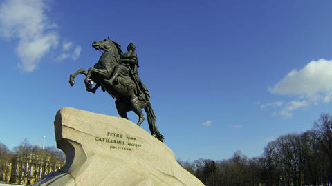 Monument to Peter I on the Senate square in St. Petersburg. Bronze Horseman Live Action