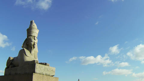Sphinx at the University embankment in St. Petersburg Stock Video Footage