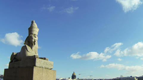 Sphinx at the University embankment in St. Petersburg Footage