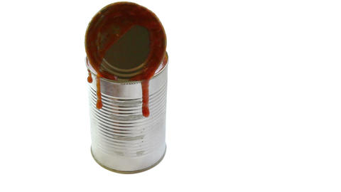Metal can with tomato sauce Stock Video Footage