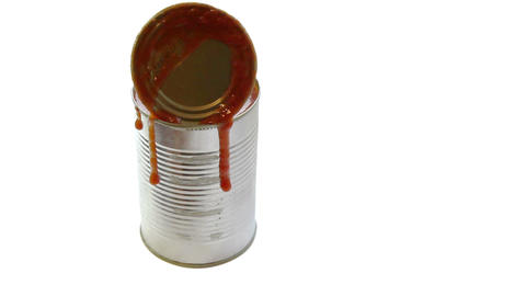 Metal can with tomato sauce Footage