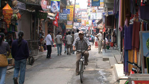 Small crowded street in Thamel Footage