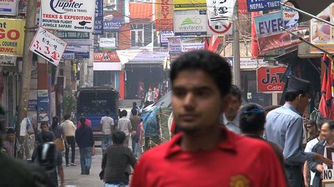 Busy street in thamel, Kathmandu Footage