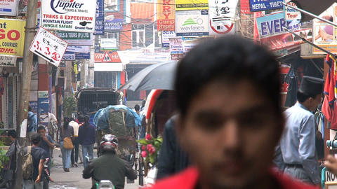 Busy street in thamel, Kathmandu Stock Video Footage