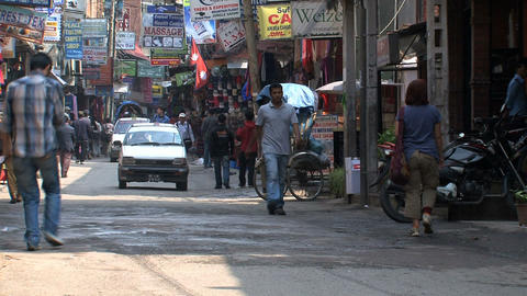 Taxis in the street of Thamel Kathmandu Footage