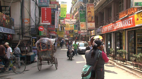 Street in thamel district of Kathmandu Footage