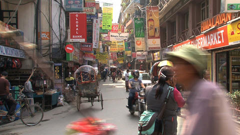 Street in thamel district of Kathmandu Stock Video Footage