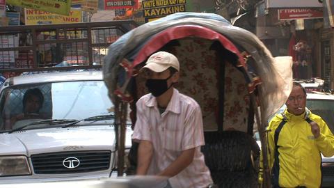 Bike taxi in the street thamel Kathmandu Stock Video Footage