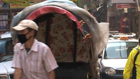 Bike taxi in the street thamel Kathmandu Footage