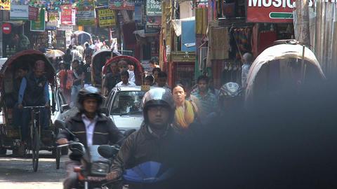Busy street in the thamel district kathmandu Stock Video Footage