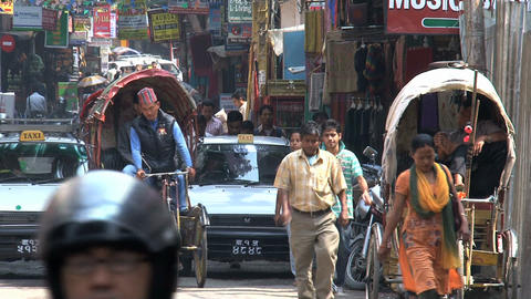 Busy street in the thamel district kathmandu Footage