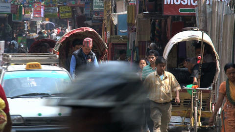 Busy street in the thamel district kathmandu Stock Video Footage