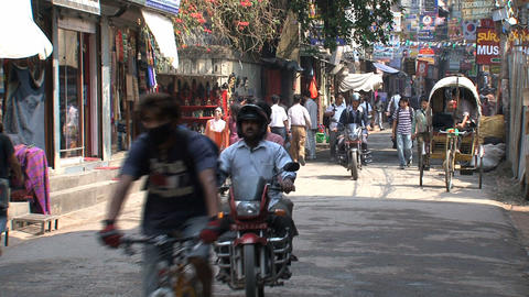 Busy morning scene in thamel Kathmandu Stock Video Footage