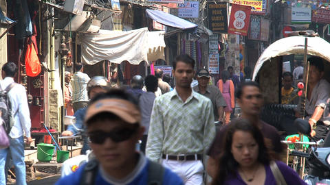 Busy urban scene in thamel Stock Video Footage