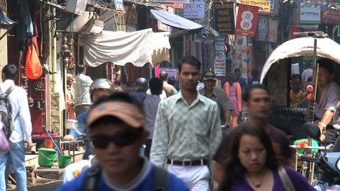 Busy urban scene in thamel Stock Video Footage