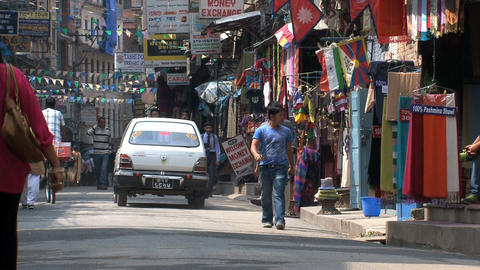 Busy street scene in Thamel Kathmandu Stock Video Footage