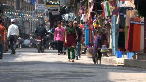 Morning crowd in Thamel Kathmandu Stock Video Footage