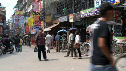 Busy corner in thamel Kathmandu Stock Video Footage