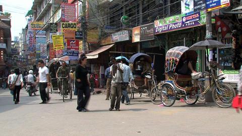 Busy corner in thamel Kathmandu Footage