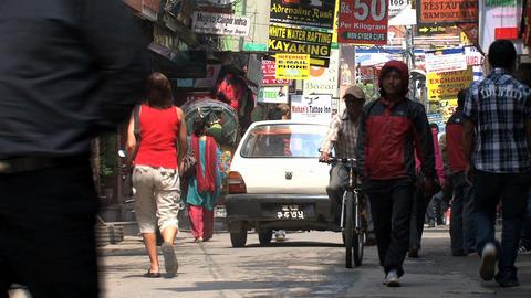 Morning in thamel kathmandu Stock Video Footage