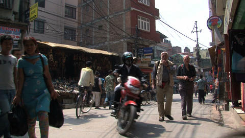Tilt to a street in Thamel Footage