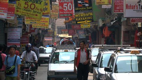 Busy street scene in thamel Kathmandu Stock Video Footage