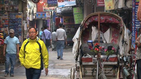 Empty bike taxi in the streets of thamel Kathmandu Stock Video Footage