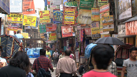 Busy street with signs in thamel Kathmandu Footage