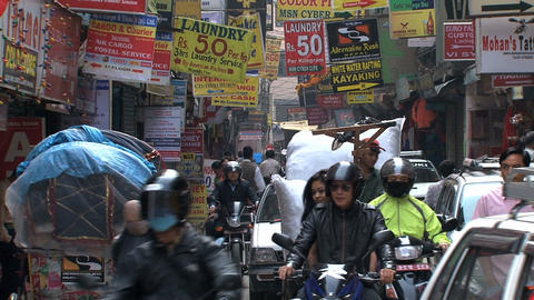 Busy street in thamel Kathmandu,Nepal Stock Video Footage
