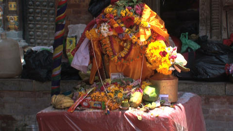 Offers is temple near Durbar Square Stock Video Footage