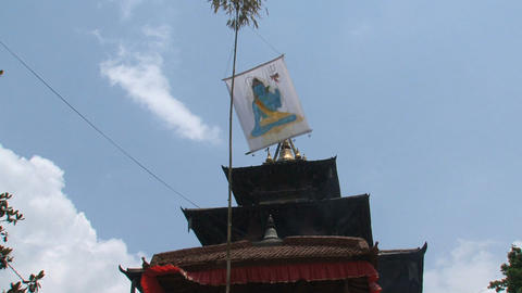 Flag in front of an hindu temple Stock Video Footage
