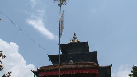 Flag in front of an hindu temple Footage