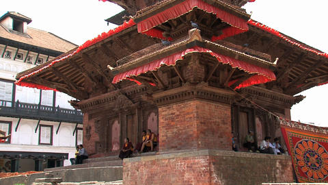 People around a temple at Durbar Square Footage