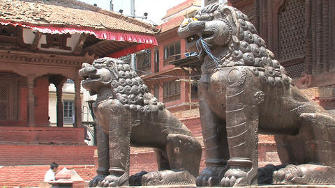 Close up Lions statue in front of a temple Footage
