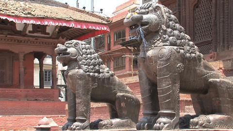 Close up Lions statue in front of a temple Stock Video Footage