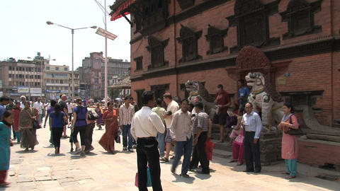 Busy crowd near temple at Durbar Square Stock Video Footage