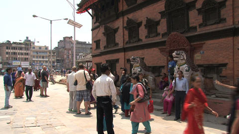 Busy crowd near temple at Durbar Square Footage