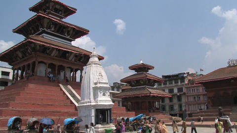 People near the temple at Durbar Square Footage