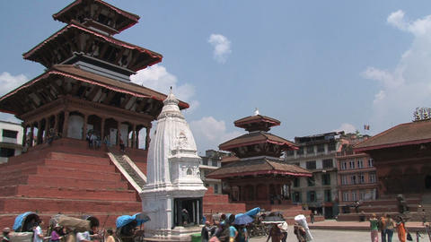 People near the temple at Durbar Square Stock Video Footage