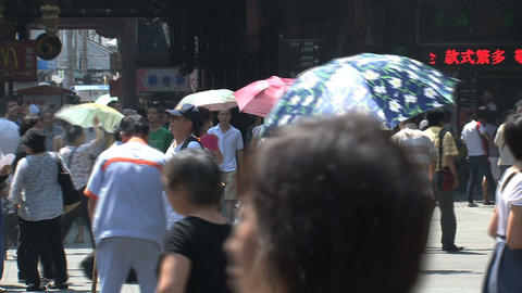 crowd in the street of yuyuan garden Stock Video Footage