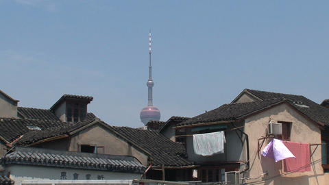Old houses with the tv tower in the background Stock Video Footage