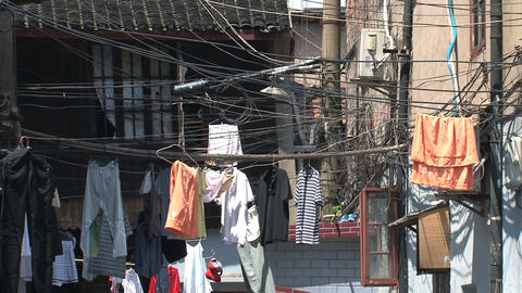 Clothes and wires in a street Stock Video Footage