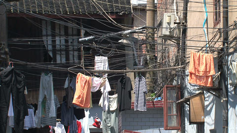 Clothes and wires in a street Footage