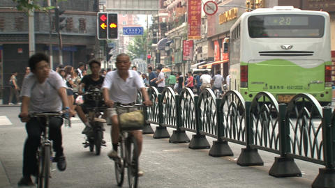 Busy traffic downtown Shanghai Stock Video Footage