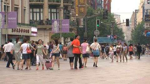 People at Nanjing Road Stock Video Footage