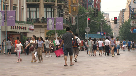 People at Nanjing Road Footage